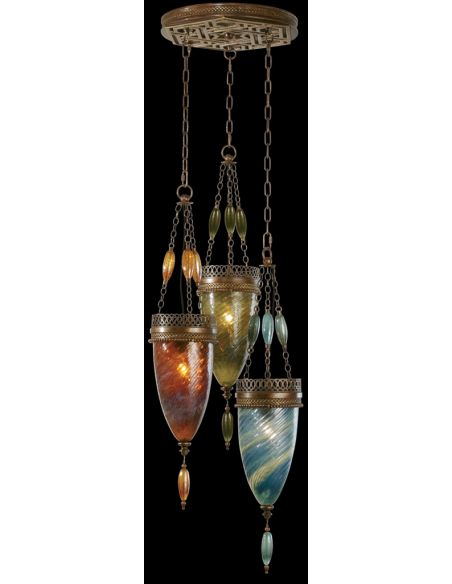 Lighting Pendant of meticulously crafted metalwork, Hand-blown glass