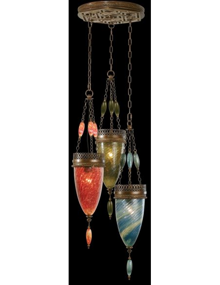 Lighting Pendant of meticulously crafted metalwork, Oasis Green, Desert Sky Blue and Sunset Red colors