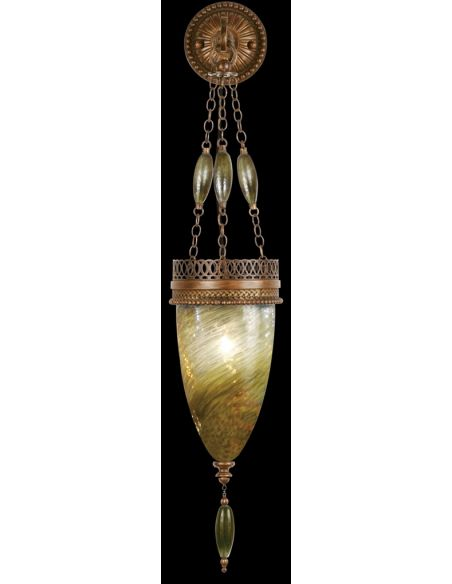 Lighting Sconce of meticulously crafted metalwork, vibrant Oasis Green color