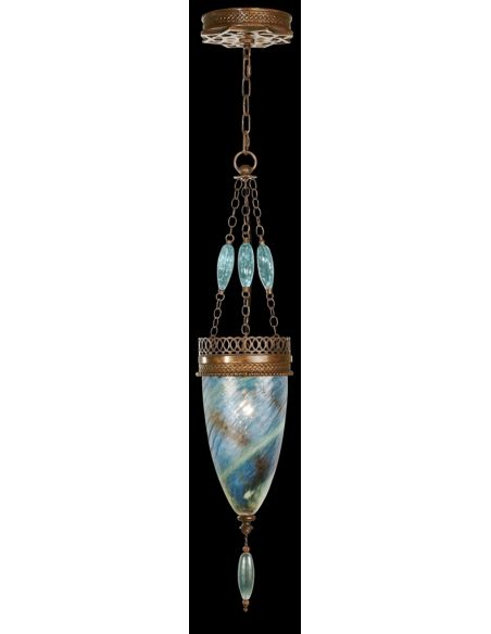 Lighting Pendant of meticulously crafted metalwork, glass in vibrant Desert Sky Blue color