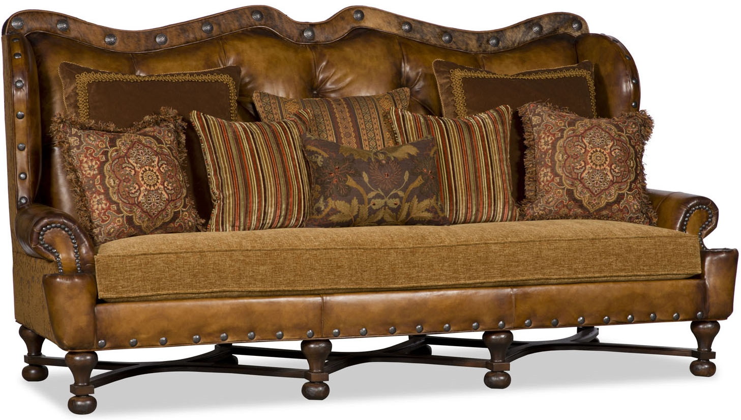 SOFA, COUCH U0026 LOVESEAT Tufted Nail Head Curved Sofa