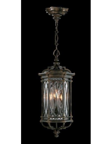 Lighting Large lantern of individually beveled, leaded glass panels