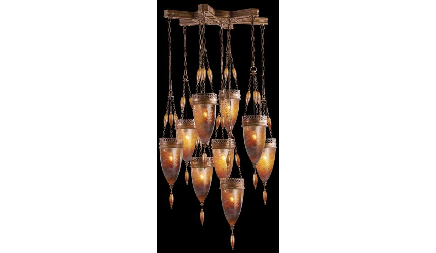 Lighting Pendant of meticulously crafted metalwork, Hand-blown glass in vibrant Amber Dunes glass color