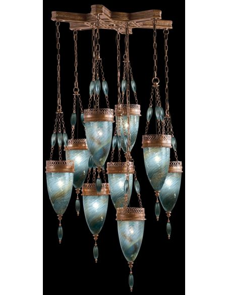 Lighting Pendant of meticulously crafted metalwork, Hand-blown glass in vibrant Desert Sky Blue glass color