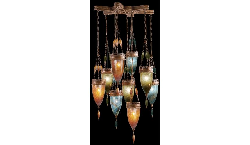 Lighting Pendant of meticulously crafted metalwork, Hand-blown glass in vibrant Oasis Green, Amber Dunes