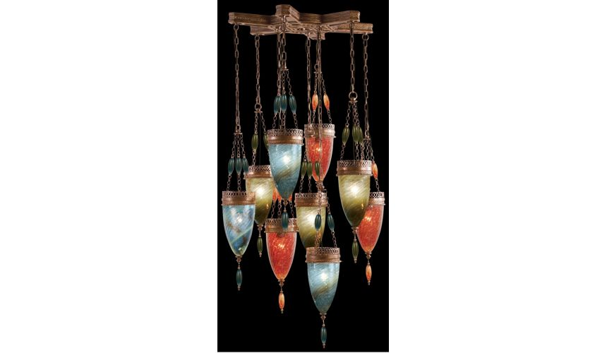 Lighting Pendant of meticulously crafted metalwork, Hand-blown glass in vibrant colors