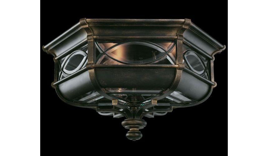 Lighting Flush mount of individually beveled, leaded glass panels