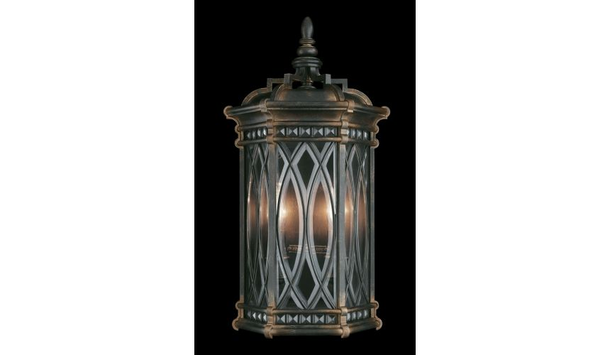 Lighting Coupe of individually beveled, leaded glass panels
