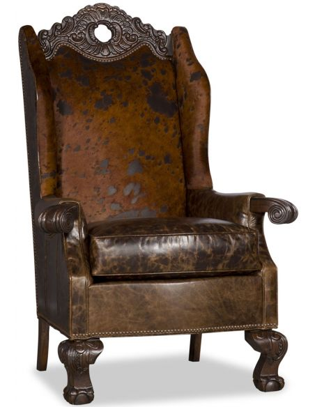 Luxury Leather & Upholstered Furniture Heavily Carved Arm Chair