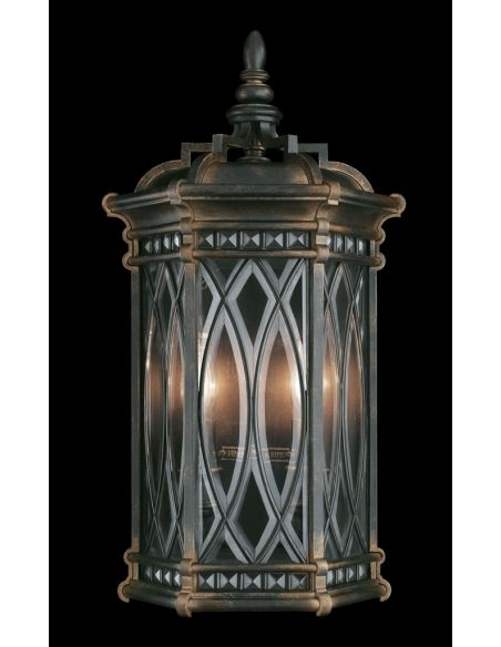 Lighting Medium wall mount of individually beveled, leaded glass panels