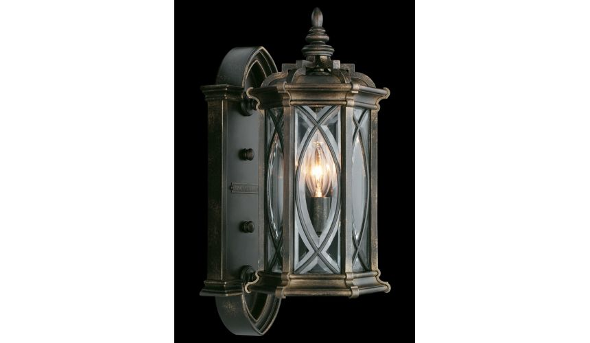 Lighting Small wall mount of individually beveled, leaded glass panels