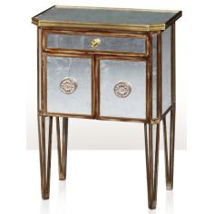 An antiqued mirror bedside cabinet