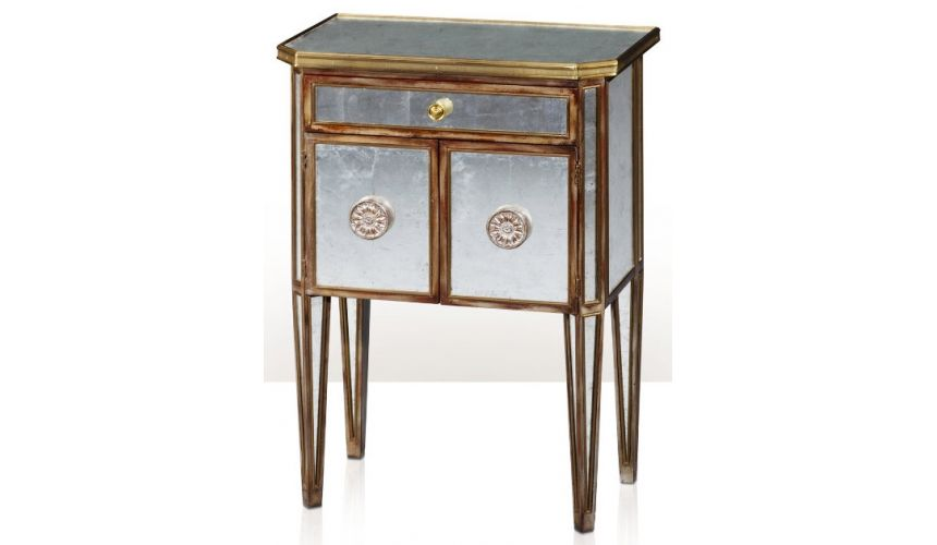 Square & Rectangular Side Tables An antiqued mirror bedside cabinet