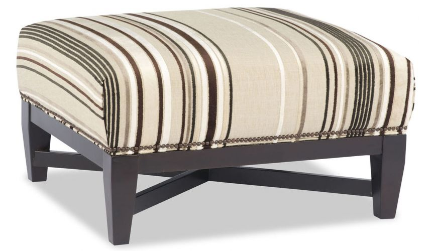 Luxury Leather & Upholstered Furniture Tan and Brown Striped Ottoman