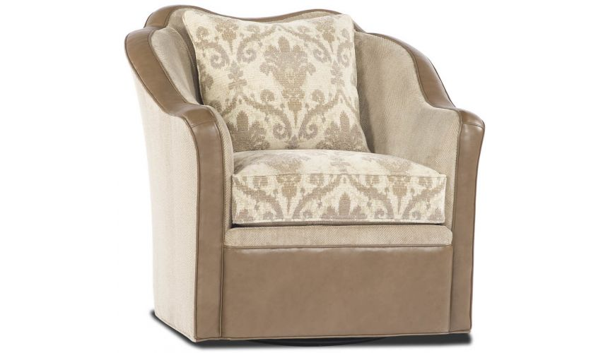 Luxury Leather & Upholstered Furniture Modern Tan Swivel