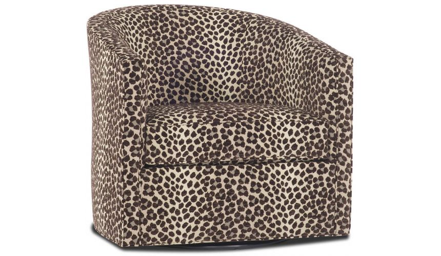 Luxury Leather & Upholstered Furniture Jaguar Print Swivel Chair