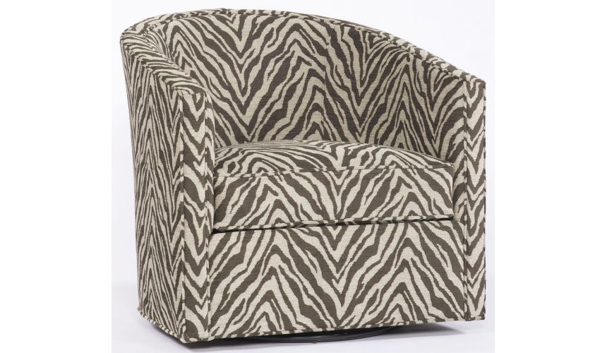 Luxury Leather & Upholstered Furniture Animal Print Swivel Chair