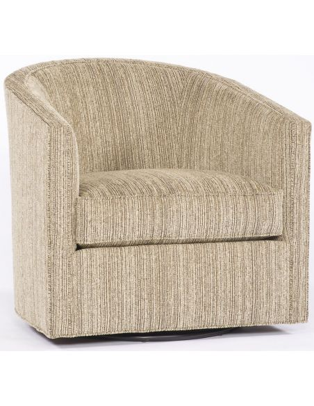 Luxury Leather & Upholstered Furniture Tan Stripe Swivel Chair