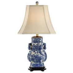 Blue White Floral Lamp