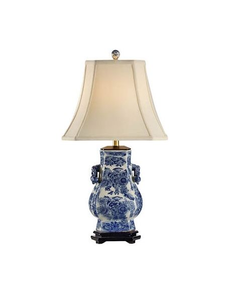Decorative Accessories Blue White Floral Lamp