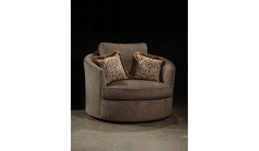 Luxury Leather & Upholstered Furniture Swivel barrel chair handmade upholstered furniture
