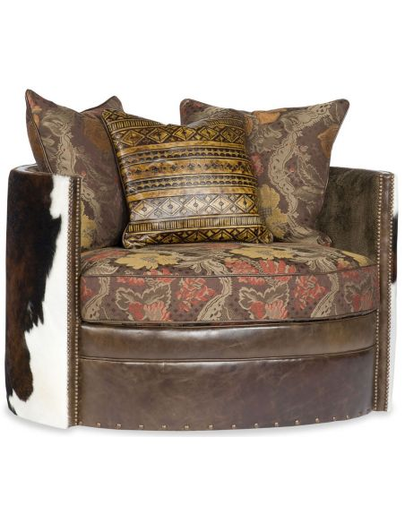Luxury Leather & Upholstered Furniture Wrap Around Swivel with western accent