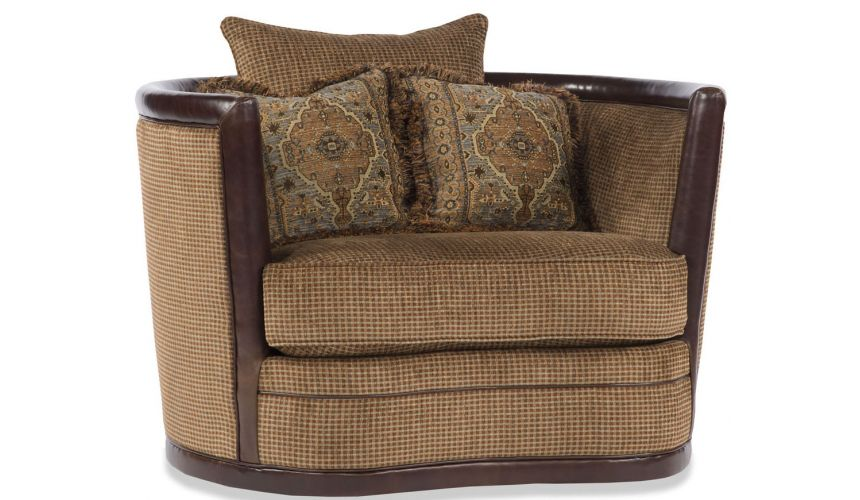 Luxury Leather & Upholstered Furniture Two Tone Brown Swivel Chair