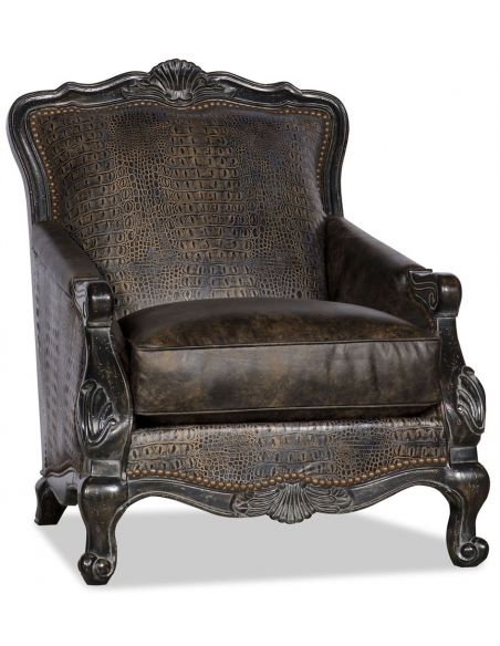 Luxury Leather & Upholstered Furniture Nail Head Arm Chair