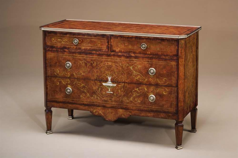 Italian Empire Mother Of Pearl Inlaid Chest Of Drawers Antique Reproduction  Furniture