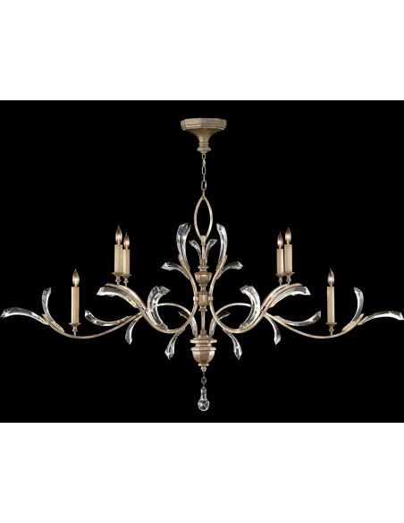 Lighting Oblong chandelier in a warm muted silver leaf finish