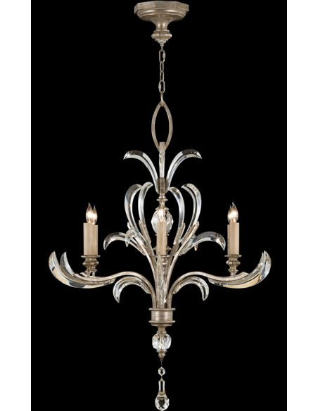 Lighting Chandelier in a warm muted silver leaf finish featuring beveled crystal accents