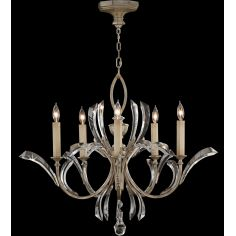 Chandelier in warm muted silver leaf finish. Features beveled crystal accents