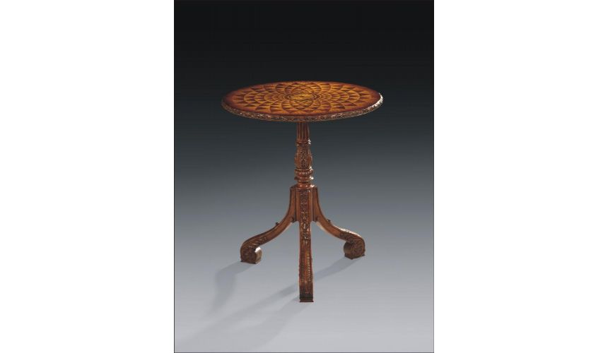 Round & Oval Side Tables Luxury Furniture Marquetry Occasional Table