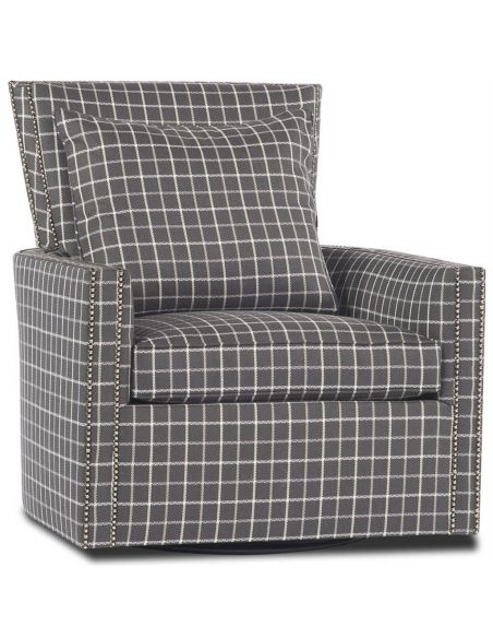 Luxury Leather & Upholstered Furniture Plaid Swivel Chair