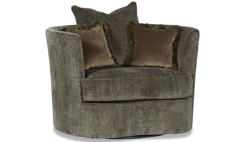 Luxury Leather & Upholstered Furniture Comfy Round Swivel Accent Arm Chair