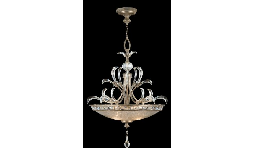 Lighting Pendant in warm muted silver leaf finish. Features beveled crystal accents