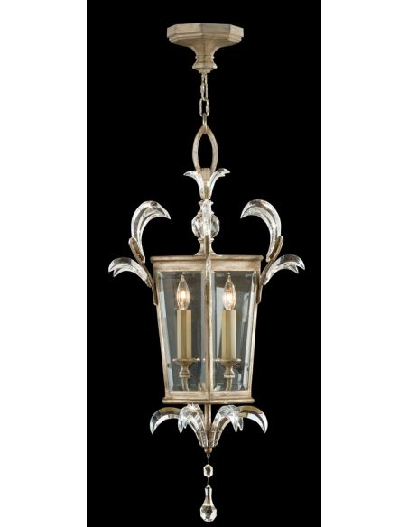 Lighting Lantern in warm muted silver leaf finish. Features beveled crystal accents