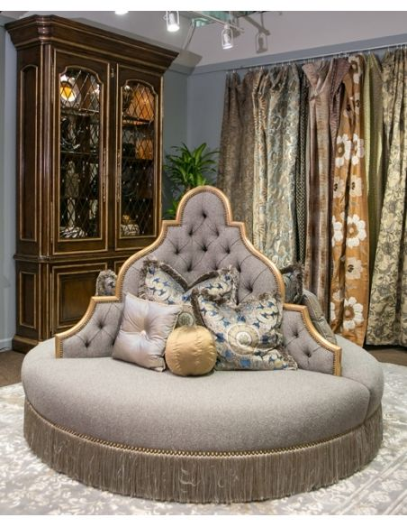 LUXURY BEDROOM FURNITURE Round sofa foyer or lobby seating.