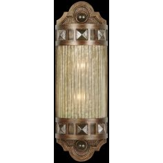 Petite sconce of meticulously crafted metalwork, glass in Oasis Green