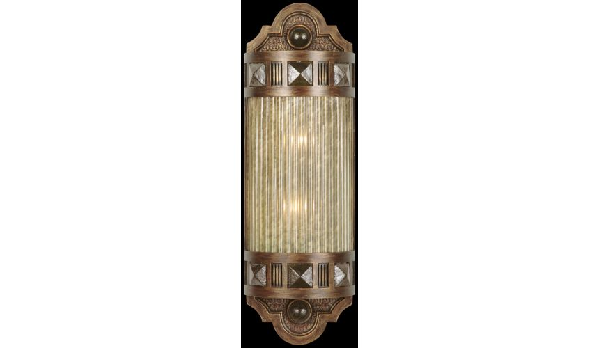 Lighting Petite sconce of meticulously crafted metalwork, glass in Oasis Green