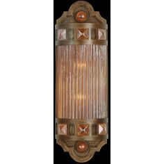 Petite sconce of meticulously crafted metalwork, glass in vibrant Amber Dunes color
