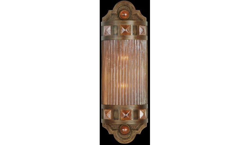 Lighting Petite sconce of meticulously crafted metalwork, glass in vibrant Amber Dunes color