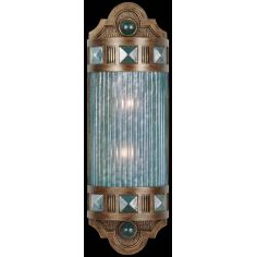 Petite sconce of meticulously crafted metalwork, glass in vibrant Desert Sky Blue color