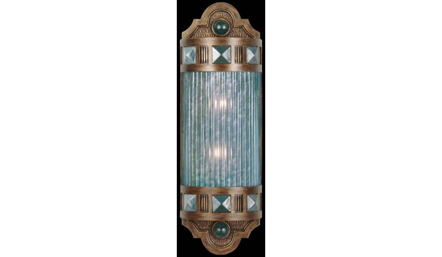 Lighting Petite sconce of meticulously crafted metalwork, glass in vibrant Desert Sky Blue color
