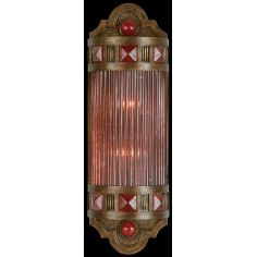 Petite sconce of meticulously crafted metalwork, glass in vibrant Sunset Red color