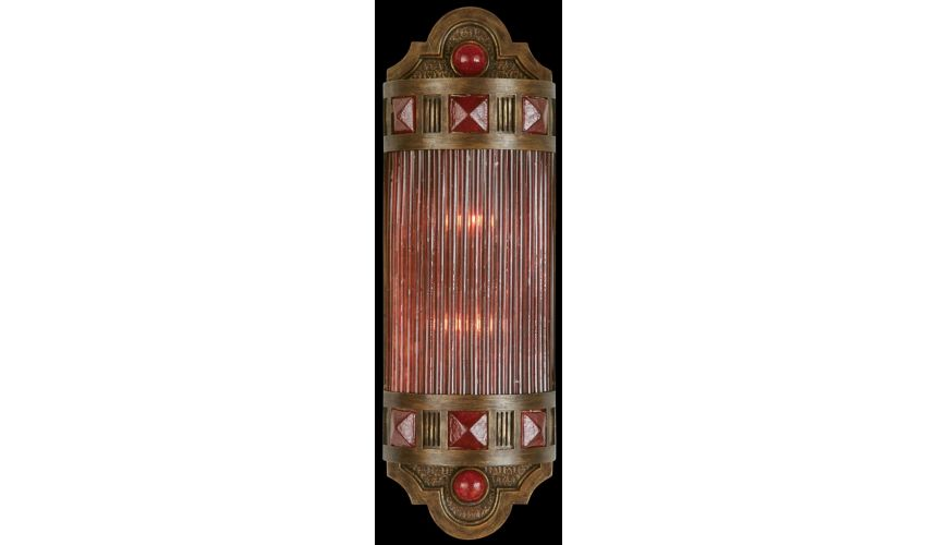 Lighting Petite sconce of meticulously crafted metalwork, glass in vibrant Sunset Red color