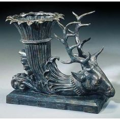 Bronze trophy stag head display planter.