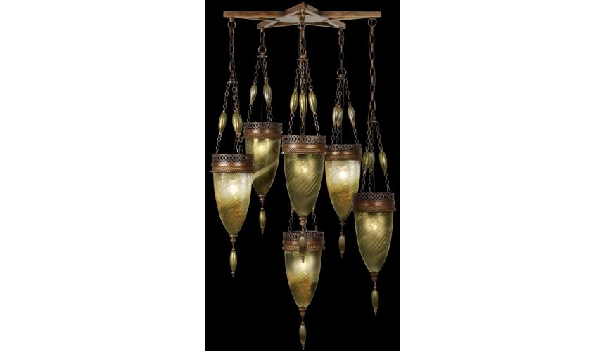 Lighting Pendant of meticulously crafted metalwork, glass in vibrant Oasis Green color