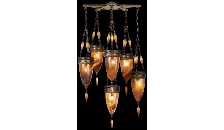 Lighting Pendant of meticulously crafted metalwork, glass in vibrant Amber Dunes color