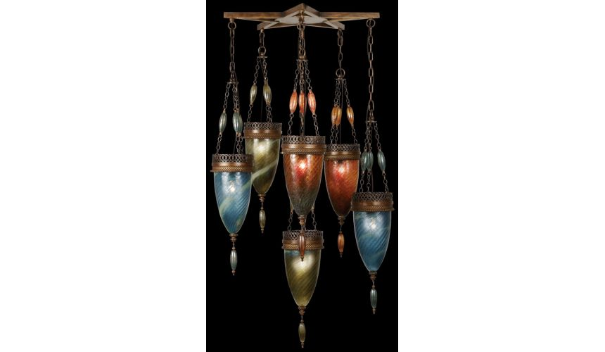 Lighting Pendant of meticulously crafted metalwork in an aged dark bronze finish. Hand-blown glass